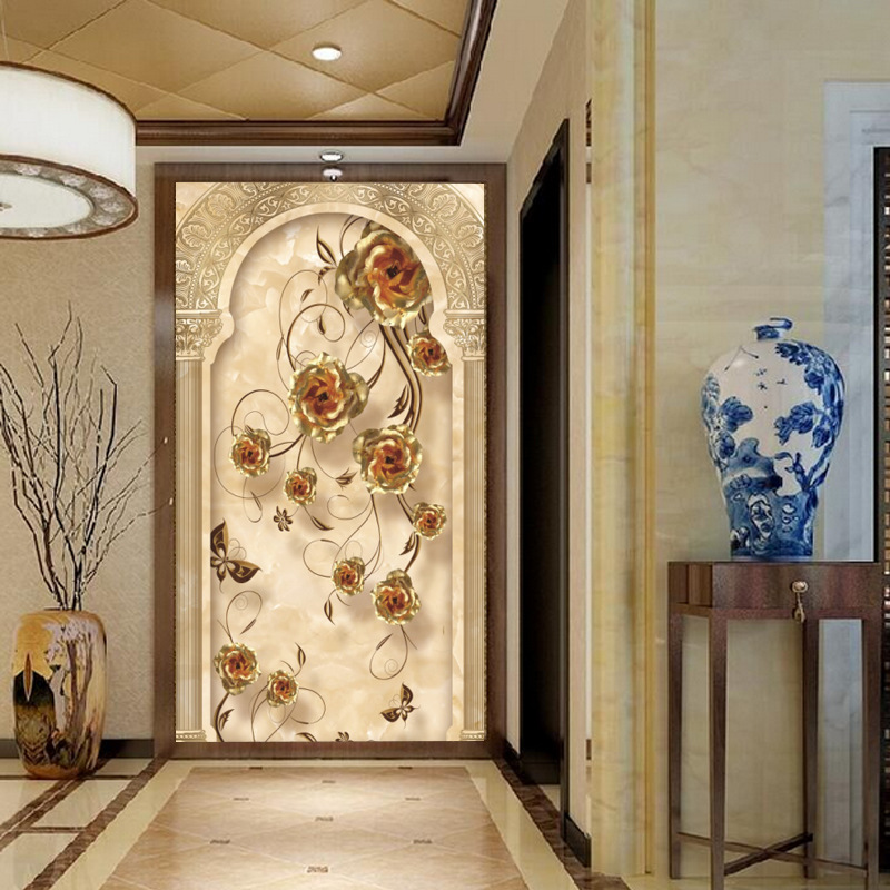 Ou Dai Entrance Roses Wallpaper Corridor Aisle Vertical Wall Wallpaper Large Mural Seamless Wall Cloth