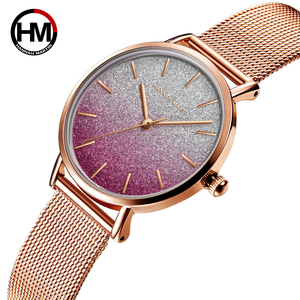 Image 3 - 送料無料 Japanischen Bewegung モード Farbe デザイン超薄型メッシュバンド防水腕章 Frauen Armbanduhr Luxus ダーメン腕時計