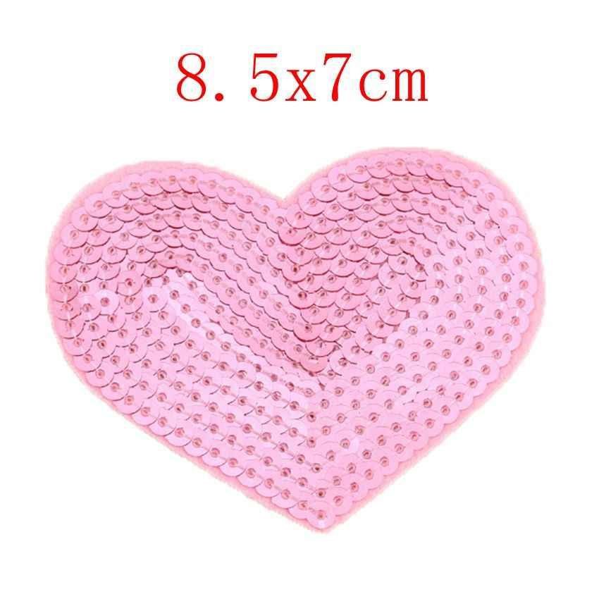 2 PC Glitter สีแดง Love Heart Star Applique เสื้อผ้าเย็บปักถักร้อย Patch สติกเกอร์ผ้าเหล็กบน Patch ซ่อมเย็บผ้าปัก