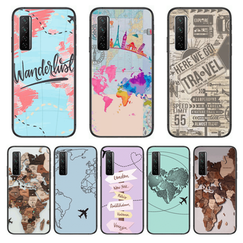 Funny world map travel Phone Case For Huawei Nova p10 lite 7 6 5 4 3 Pro i p Smart ZBlack Etui 3D Coque Painting Hoesje image