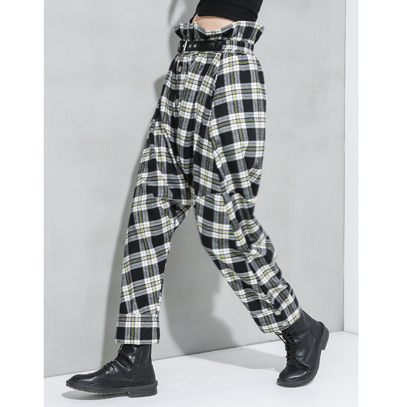 LANMREM Can Ship 2020 Spring Fashion New Women's Trousers Personality Lattice Hit Color Haren Pants High Waist Loose Pants YJ103