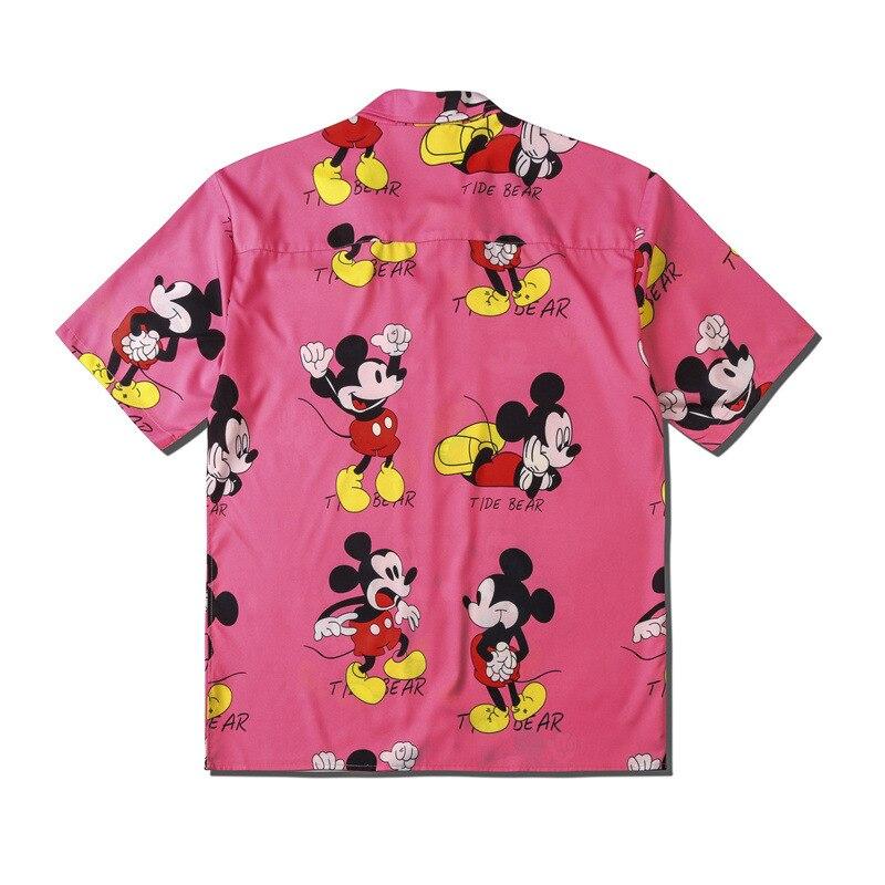 UNCLEDONJM Mickey MouseFashion Short Sleeve Shirt Men 2020 Summer Hawaii Hip Hop Streetwear Male Short Sleeve Shirt CS113