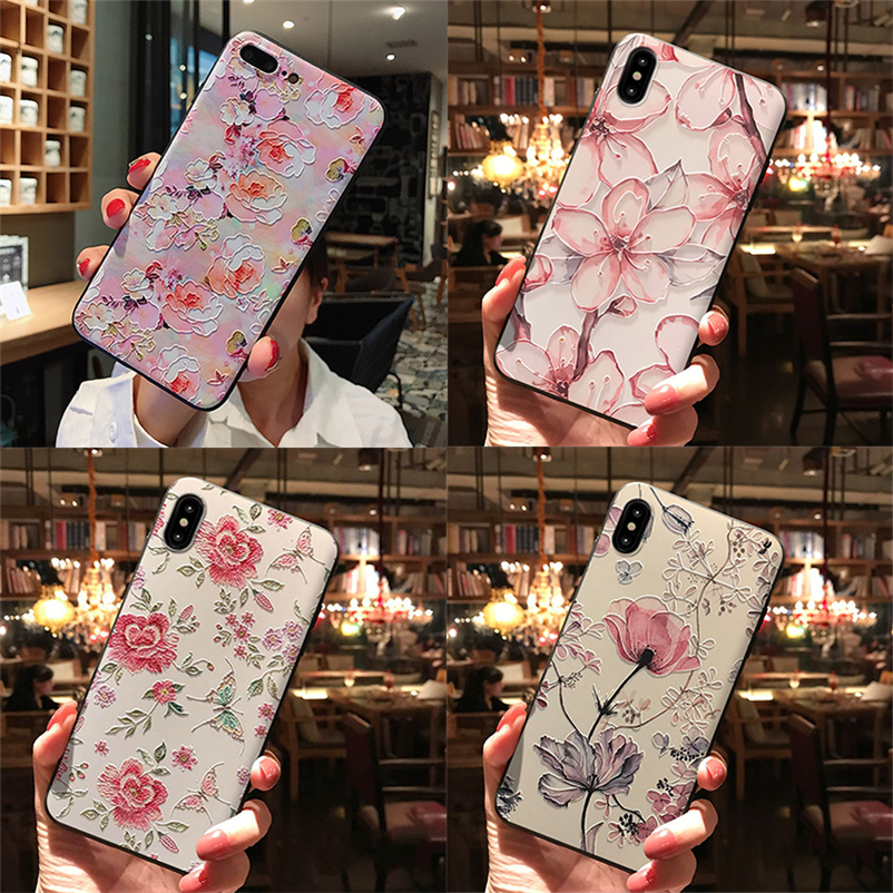 3D Emboss Flowers Case For <font><b>Samsung</b></font> Galaxy <font><b>A10</b></font> A10E A20 A20E A30 A40 A50 A60 A70 M20 M30 S8 S9 S10 Plus Note 8 9 10 Pro TPU Cover image