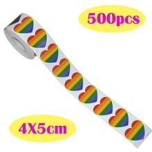 500 sztuk Gay Pride tęczowe serce rolka naklejek w kształcie serca etykiety nadaje się do rzemiosła prezent koperta naklejki samochodowe