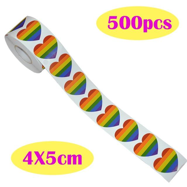 Rollo de pegatinas en forma de corazón para manualidades, rollo de pegatinas en forma de corazón, Arco Iris, Orgullo Gay, para regalo, 500 Uds.