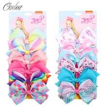 6 Pieces/Set Jojo Siwa JOJO BOWS Rainbow Printed Knot Ribbon Bow For Girls Handmade Boutique Hair Clip Children Accessories