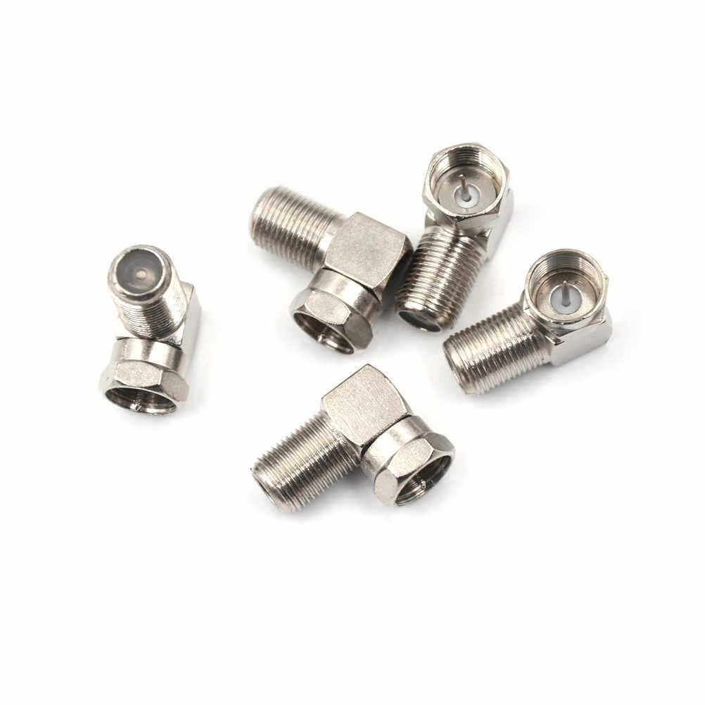 5 Pcs Sudut Siku 90 Derajat Koaksial Konektor Tahan Air Koneksi F Male To F Female Adaptor Konektor RG6 RG5