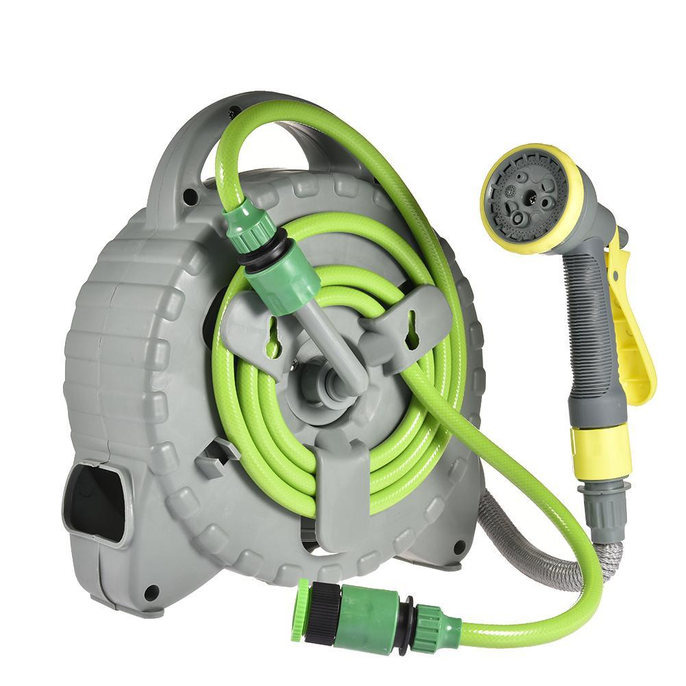 Retractable Garden Hose With Sprayer Reel Portable Hose Reel Set