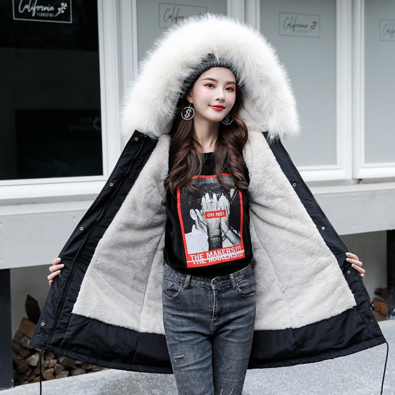 Winter Jacket Women Solid Color Slim Hooded Winter Coat Women Fashion White Fur Collar Long Parka Warm Outwear Jackets Femme