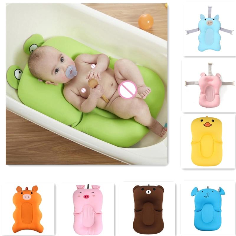 Cartoon Portable Baby Non-Slip Bath Tub Newborn Air Cushion Bed Shower Pad Baby Pillow Newborn Bath Tub Accessories