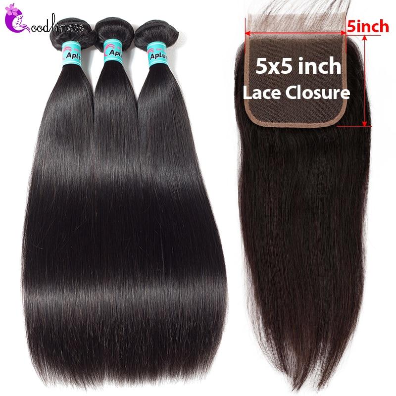 Pre Plucked 5x5 Closure With Bundles Brazilian Straight Hair Bundles With Closure Remy Human Hair Weave Bundles With Closure