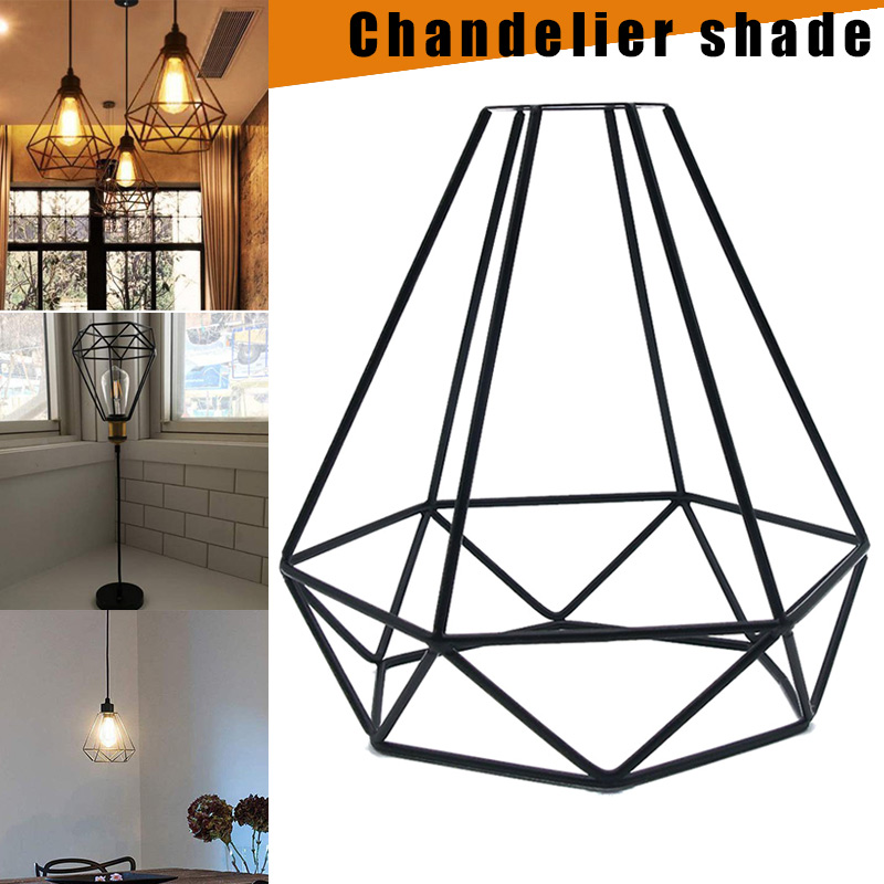 Iron Cage Modern Industrial Vintage Cage Pendant Light Iron Art Diamond Pyramid Wrought Home Ceiling Lamp Suitable