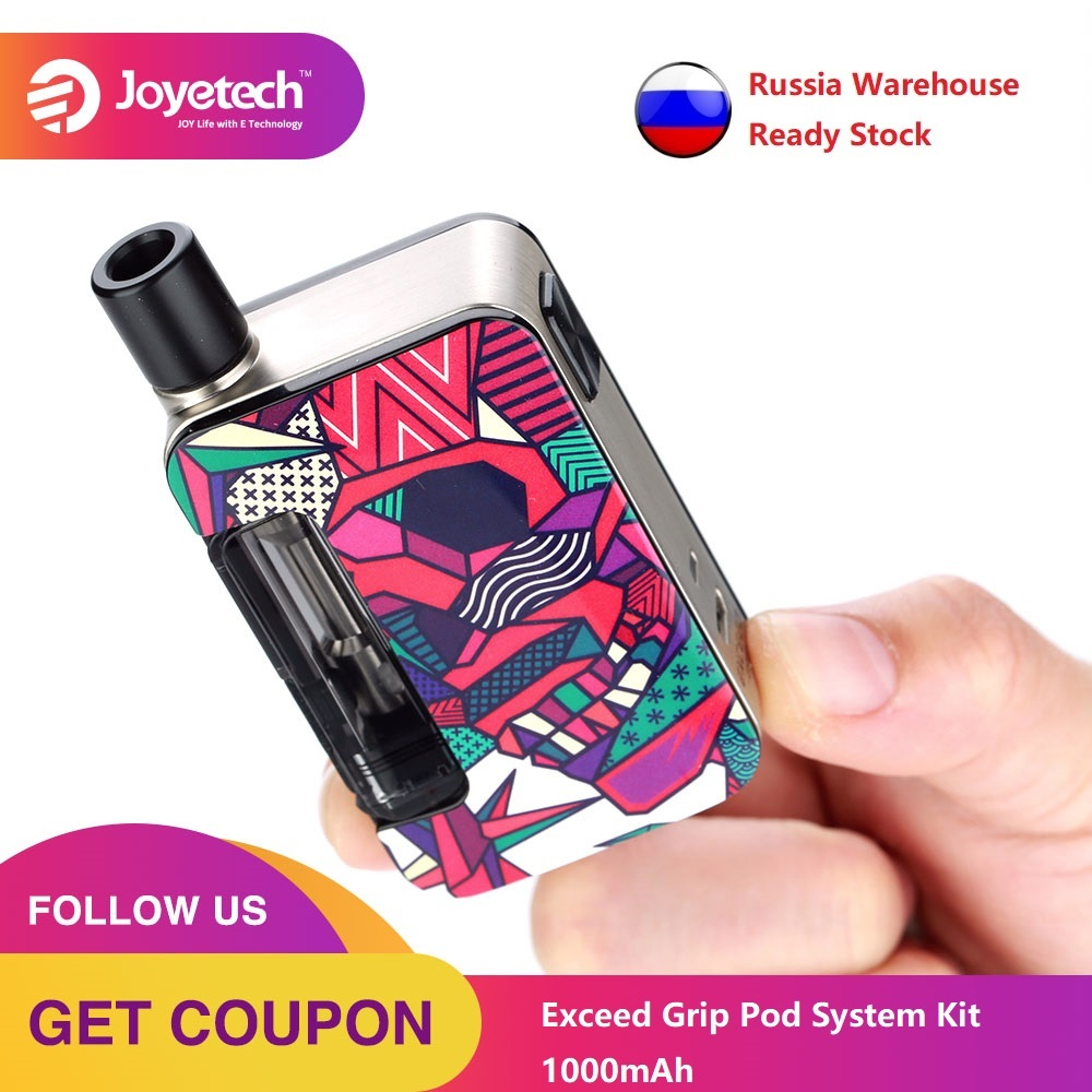 Russia Sending Original Joyetech Exceed Grip Pod System Kit With 1000mAh Battery & 0.4ohm/0.8ohm EX-M Mesh Coil Vs Drag Nano