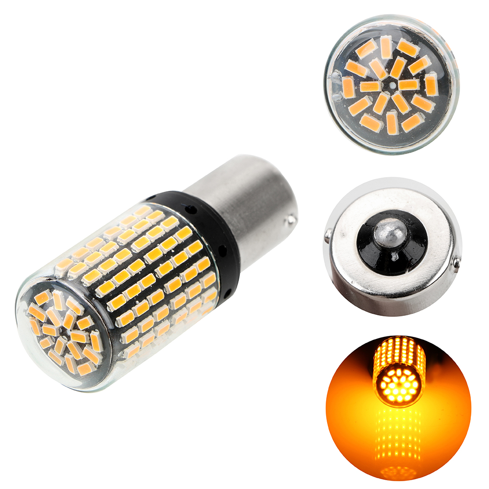 3014 144 smd <font><b>LED</b></font> Canbus <font><b>Bulbs</b></font> Reverse Lights BA15S <font><b>P21W</b></font> No Hyper Flash lights 1Pcs Auto Car Turn Signal Signal Lamp image