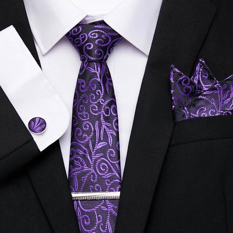 4Pcs Set For Tie Hanky Cufflinks Tie Clips Men Business Formal Wedding Classic 100%Silk Men Necktie 7.5cm Wide Ties Men's Set