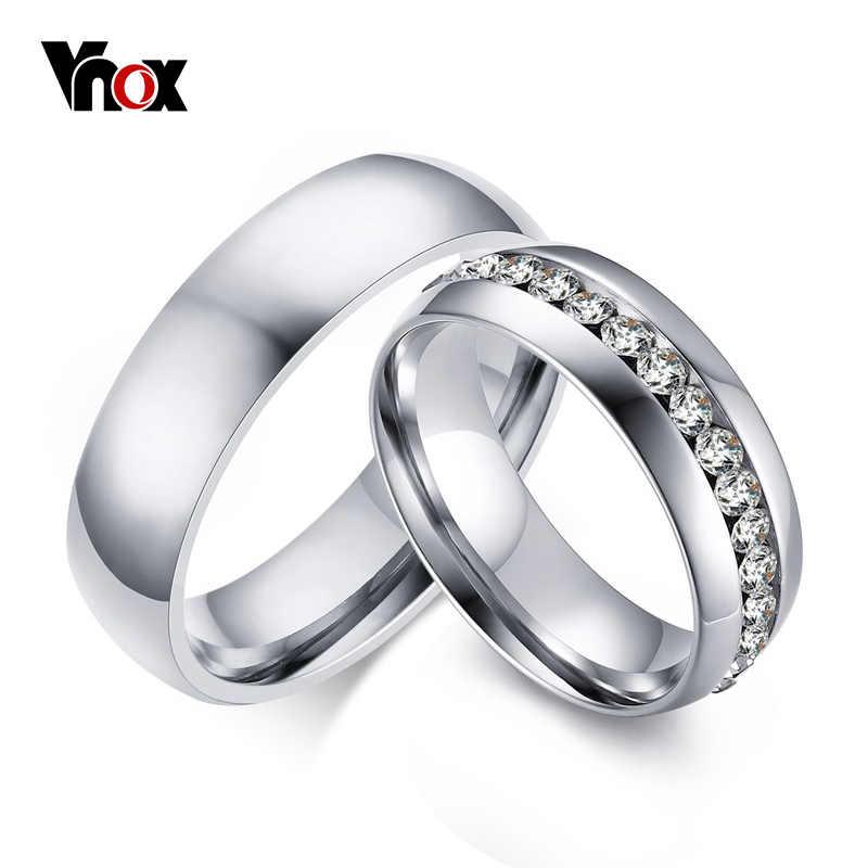 "Vnox של מאהב תכשיטי טבעות אירוסין לנשים גברים 2 pcs/lots סיטונאי טבעת להקות חתונה נירוסטה 6 מ""מ"