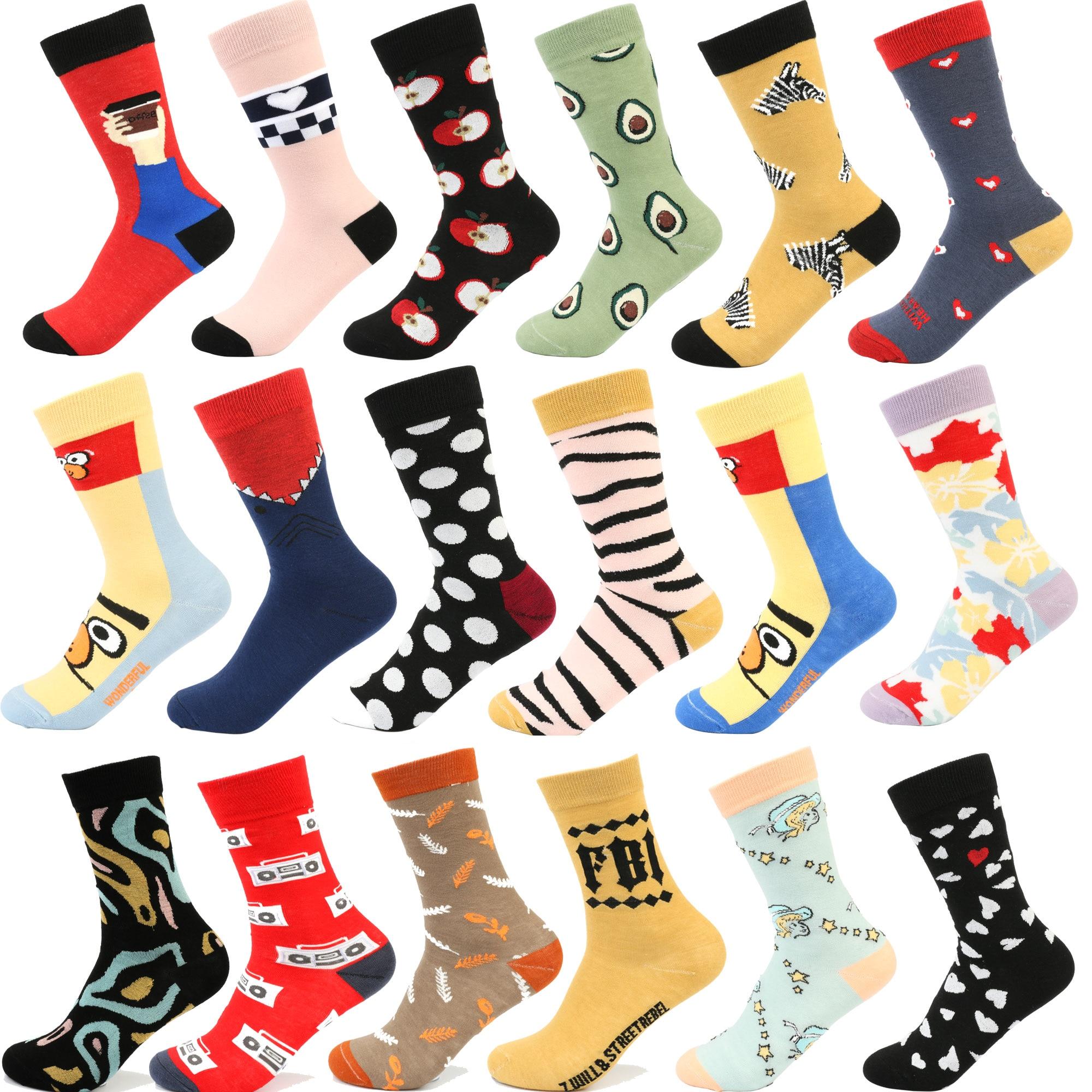 Socks Funny Cute Colorful Cotton Socks Shark Skull Pattern Long Tube Happy Women Socks Japanese Novelty Crazy Socks