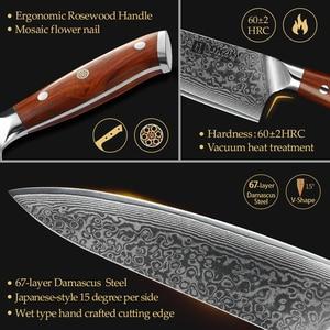 Image 4 - XINZUO 3PCS Pro מטבח סטי סכין יפני מזויף דמשק פלדה שף Santoku סכיני נירוסטה Rosewood ידית סכין שף