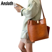 Ansloth Crocodile Bucket Bag Women Bag Vintage Crossbody