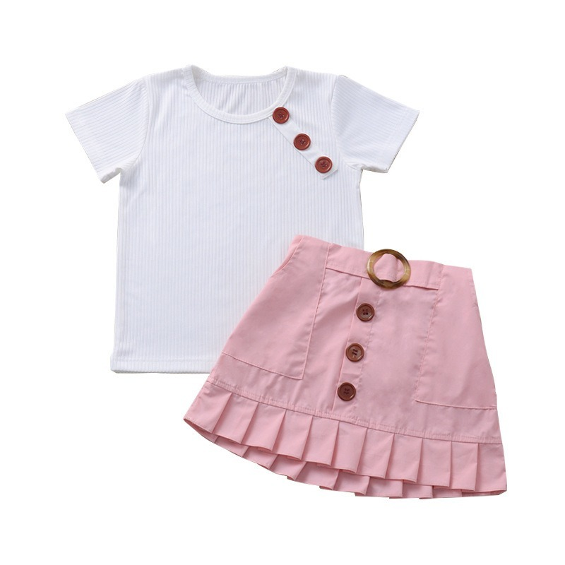 Summer Girls Clothing Sets 2 Pcs Cotton Set Children Girl Clothing Outfit Set Short Sleeve Tee +Skirts for 0-8Year Girl CL315