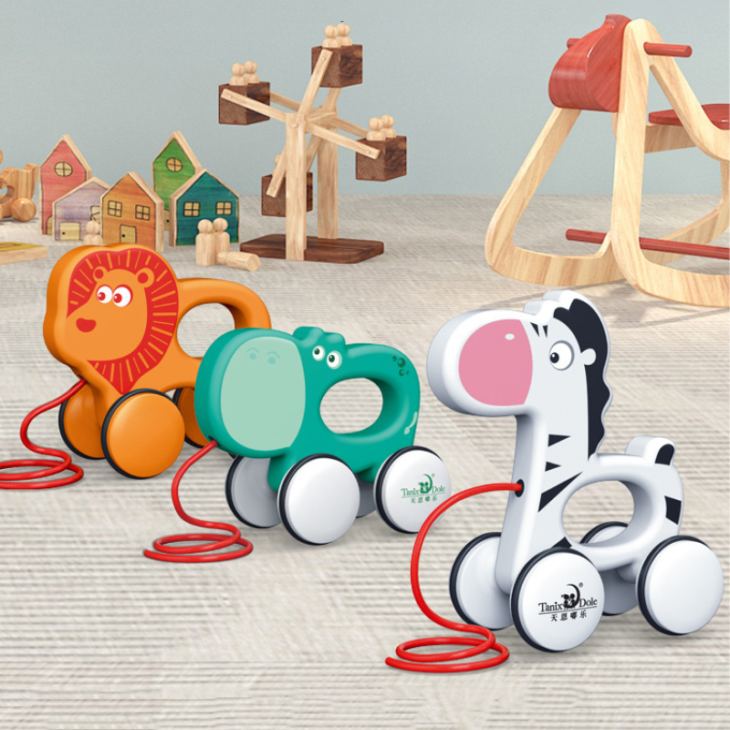 To Pull Animal Newborn Early Teaching Walker Toys Baby Toddler Toy Cartoon Animal Trailer Toddler Toys Hand Push Pull Walks Plan