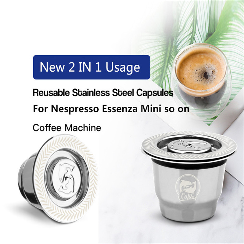 For Nespresso Reutilisable Inox 2 In 1 Usage  Refillable Capsule Crema Espresso Reusable Refillable Nespresso