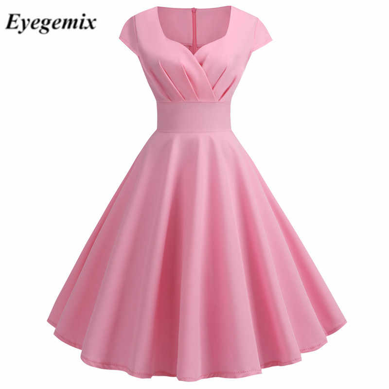 V-hals Roze Zomer Jurk Vrouwen 2019 Grote Swing Vintage Dress Robe Femme Elegante Retro Pin Up Party Office Midi jurken Plus Size