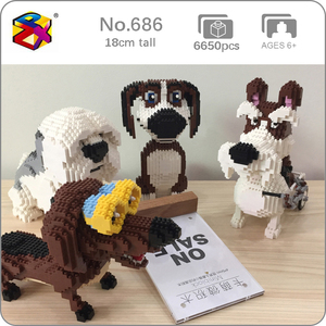 Image 1 - PZX Beagle Hound Schnauzer Dachshund جلد الغنم كلب الحيوانات الأليفة نماذج للحيوانات الأليفة لتقوم بها بنفسك كتل الماس الصغيرة الطوب بناء لعبة الأطفال لا صندوق