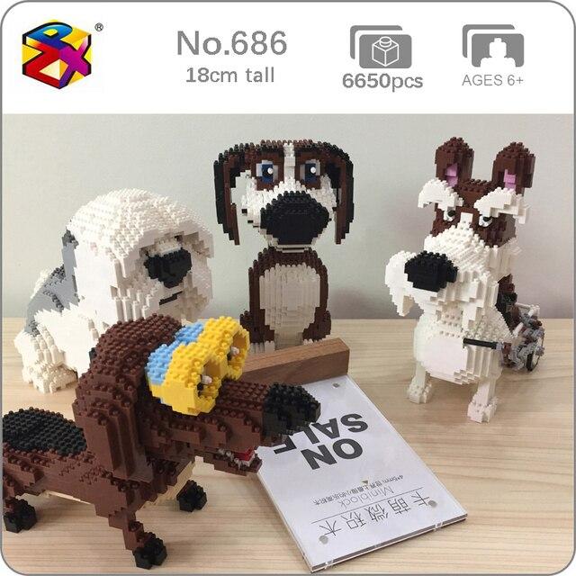 PZX Beagle Hound Schnauzer Dachshund جلد الغنم كلب الحيوانات الأليفة نماذج للحيوانات الأليفة لتقوم بها بنفسك كتل الماس الصغيرة الطوب بناء لعبة الأطفال لا صندوق
