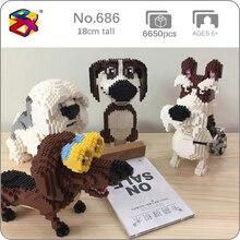 Модель животного PZX, бигль, хаунд, шнаузер, Такса, овчина, собака, животное, модель «сделай сам», мини алмазные блоки, кирпичи, игрушки для детей, без коробки