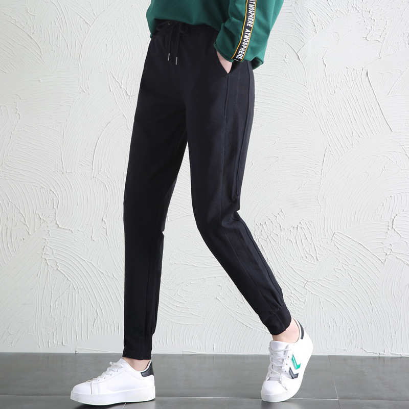 Fashion 2020 New Ladies Spring And Autumn Cotton Trousers Lace-up Slim-leg Pants