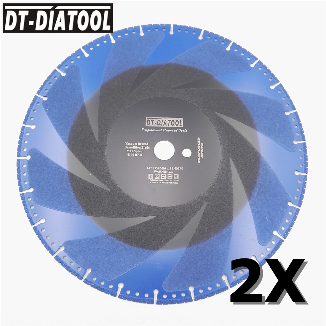 DT DIATOOL 2pcs 350mm/14 Vacuum Brazed Diamond Cutting Disc one for all Blade Rescue Saw Blade Cast Iron rebar Steel Pipe Stone