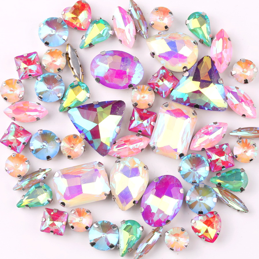 A1 White Ab 50Pcs//Bag Shapes Mix Silver Claw Settings Rainbow /& Jelly Candy Ab Glass Crystal Sew On Rhinestone Wedding Dress Shoes Bags DIY