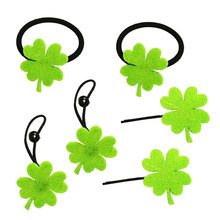 6PCS Lovely Green Four-Leaf Clover Hairpins Bobby Pins Hair Bands Lucky Clover Headdress Party Hair Accessories for Kids Girls S(China)