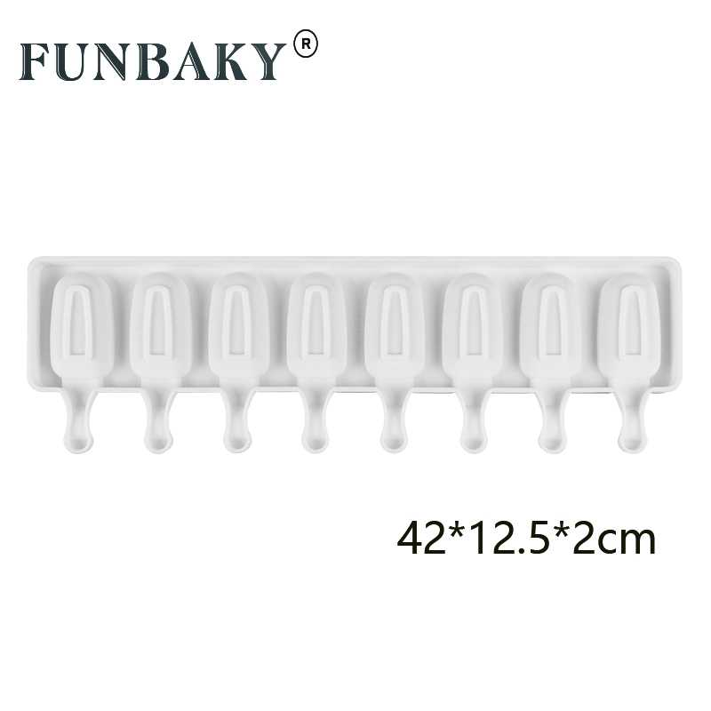 Funbaky diy ice cream silicone molde 8 cavidade cubo de gelo moldes fabricante sobremesa moldes bandeja com picolé