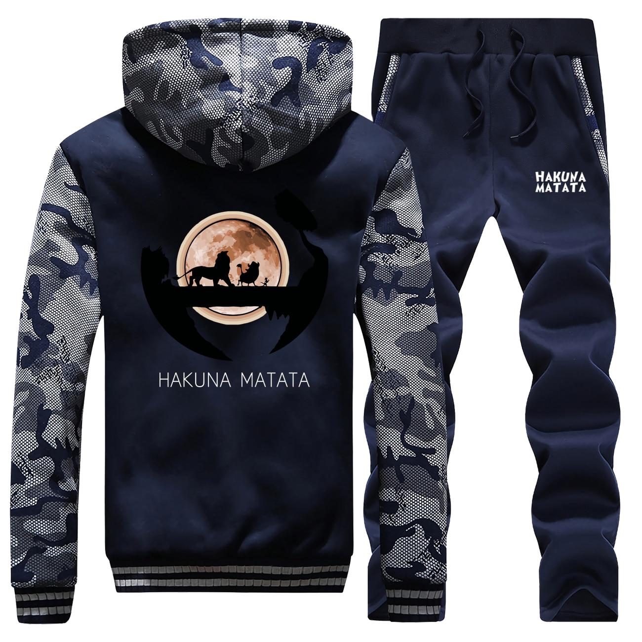 New Winter Sweatshirts Men Raglan Camouflage Hoodie Simba The Lion King Suit Coat Thick Cartoon Hooded+Sweatpants 2 Piece Set