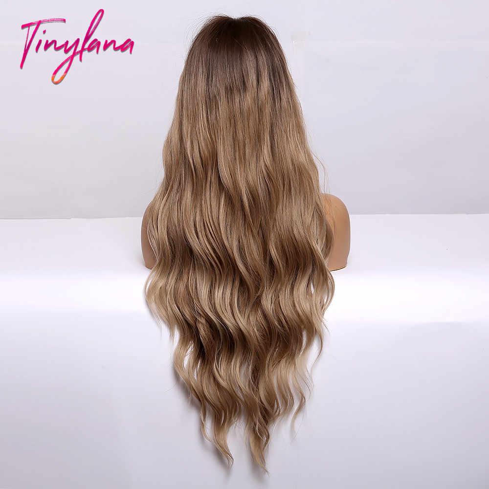Kecil Lana Panjang Sintetis Wig Gelombang Tubuh Hairsty Ash Blonde Coklat dengan Sorot Alami Poni Wanita Cosplay Tahan Panas Wig
