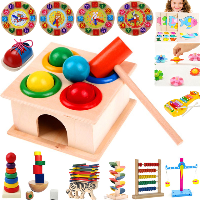 1Set Wooden Hammering Ball Hammer Box Children Fun Playing Hamster Game Toy Early Learning Educational Toys 1