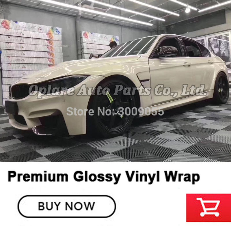 Fourth Generation Crystal Gloss Vinyl Wrap Film Beige Color Car Wrapping Film With Bubble Free Car Covering Film High-end Series
