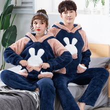 JULYS SONG Winter Couple Pajama Sets Flannel Sleepwear Pajamas Men And Women Thick Warm Comfort Long Sleeves Homewear
