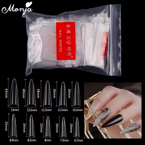 Monja 500 Pcs Transparent Natural Nail Art Full/Half Cover False Nails Acrylic UV Gel Extension French Nail Tips Manicure Tool