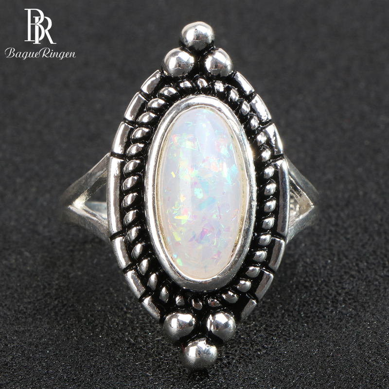 Bague Ringen classic 925 sterling silver rings for women with oval shape opal gemstones women party wholesale gift size 6-10