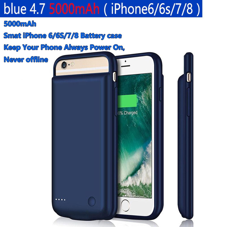 Funda cargadora de batería de 5000mAh para iPhone6/6 s/7/8 batería portátil cargador tipo batería externa Original desbloqueado Apple iPhone 6 y 6 Plus teléfonos celulares 16/64/ROM 4,7 128GB/5,5 'IPS GSM WCDMA LTE IOS iPhone6 teléfono móvil