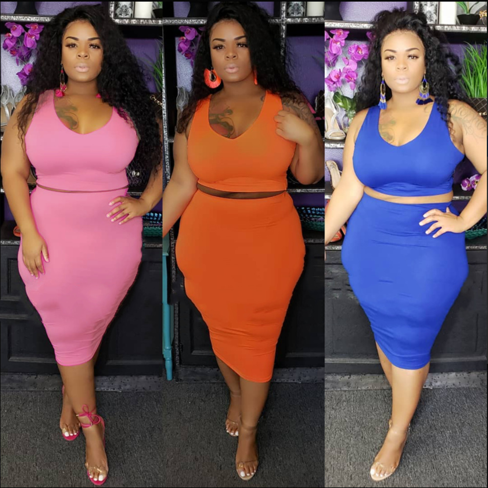 Plus Size Two Piece Sets Conjuntos Plus Size Women 2pcs Skirt Sets 2019 Two Piece Skirt Set Plus Size Set Pink Clothes Outfits