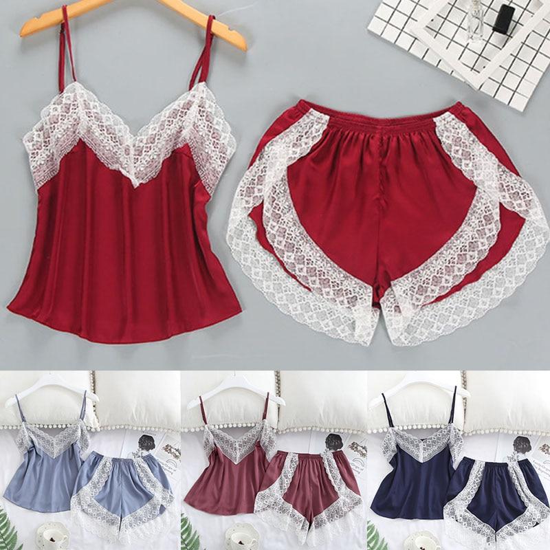 Women's Sleepwear Sexy Satin Pajama Set Elastic Lace 1Set Soft White Lace Comfortable V-Neck