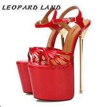 Leopar LAND kadınlar seksi parti platformu pompaları Pseudo-kız çapraz soyunma 22 Cm Metal topuklu moda kadın sandalet ZQJ