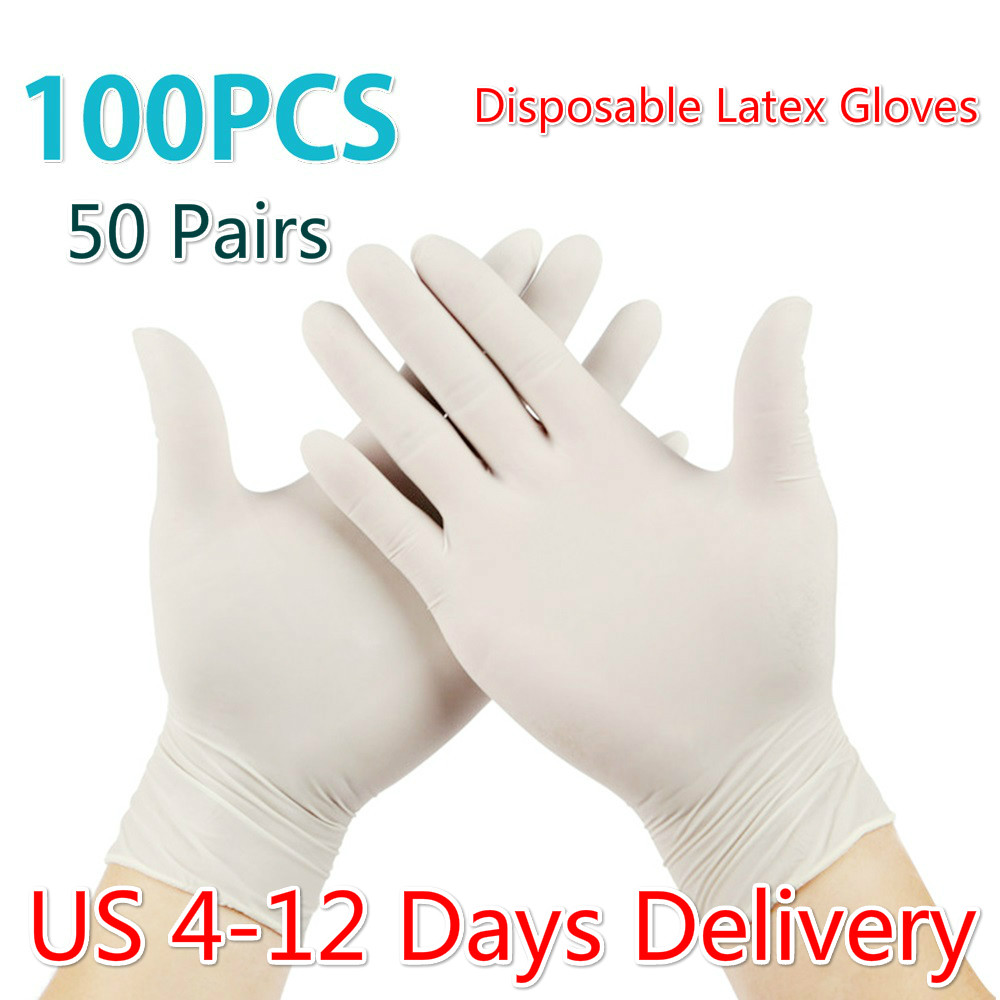 100PCS 50 Pairs Disposable Latex Gloves Non Slip Protective Acid  Laboratory Rubber Glove Anti Dust Household Cleaning Hand Glove  -