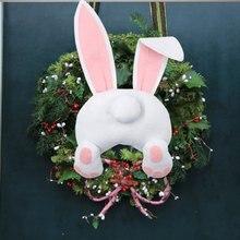 2 pçs coelhinho da páscoa garland pingente rattan garland decoração diy porta pendurado coelho decoração adereços suprimentos de festa de páscoa