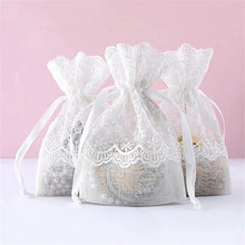 1 pièces blanc géométrique cordon maille lin sac de rangement cadeau de noël bonbons bijoux organisateur pièce clé cosmétiques sacs B75698