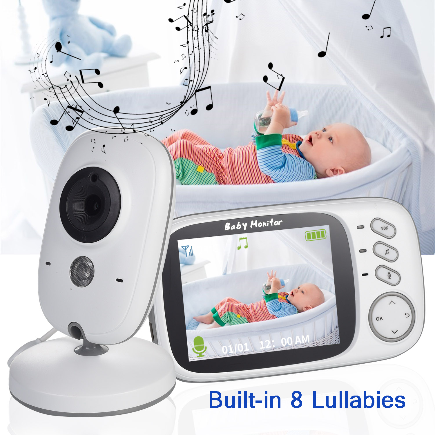 3 Inch Wireless Baby Monitor with Built In Thermometer For Your Child Security 1